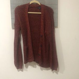 red waffle knot cardigan